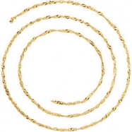 14kt Yellow BULK BY INCH Polished SOLID SINGAPORE CHAIN