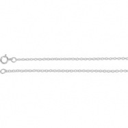 14kt White 18 INCH Polished SOLID CABLE CHAIN