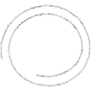 14kt White BULK BY INCH Polished DIAMOND CUT CABLE CHAIN. Price: $22.24
