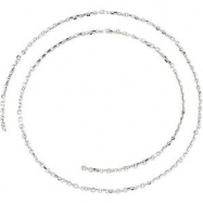 14kt White BULK BY INCH Polished DIAMOND CUT CABLE CHAIN