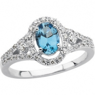 14KW 1/4 CT TW/07.00X05.00 MM P GEN AQUAMARINE & DIAMOND RING