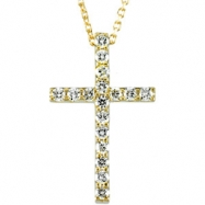 "14kt Yellow 19.25X12.00 Polished 18"" 1/4 CTW PETITE DIA CROSS"