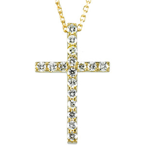"14kt Yellow 19.25X12.00 Polished 18"" 1/4 CTW PETITE DIA CROSS. Price: $743.42"