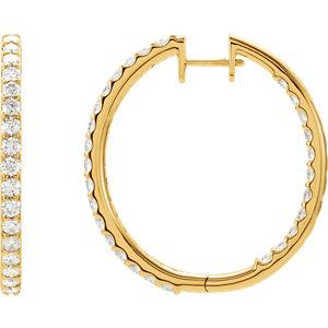 14kt Yellow 3 CTW Pair 3CTW Diamond Inside-Outside Hoop Earrings. Price: $6094.70