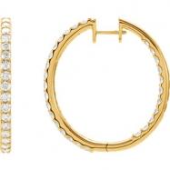 14kt Yellow 3 CTW Pair 3CTW Diamond Inside-Outside Hoop Earrings