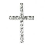 14kt White 1/6 CTTW PENDANT Polished PETITE DIAMOND CROSS