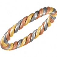 14kt White/Rose/Green 6.5 Hand Woven Band