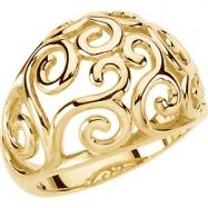 14kt Yellow RING Polished METAL FASHION SCROLL RING
