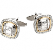 Sterling Silver & 14kt Yellow PAIR 1/2 CT TW Polished DIAMOND CUFF LINKS