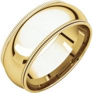 14kt Yellow 08.00 mm Comfort Fit Double Milgrain Band