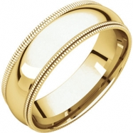 14kt Yellow 06.00 mm Comfort Fit Double Milgrain Band