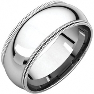 14kt White 08.00 mm Comfort Fit Double Milgrain Band