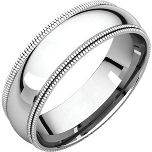 14kt White 06.00 mm Comfort Fit Double Milgrain Band. Price: $767.82