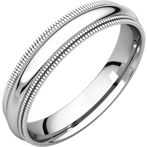14kt White 04.00 mm Comfort Fit Double Milgrain Band. Price: $464.29