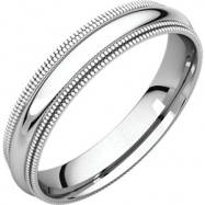 14kt White 04.00 mm Comfort Fit Double Milgrain Band