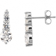 Platinum PAIR 1 CT TW Polished JOURNEY DIAMOND EARRING
