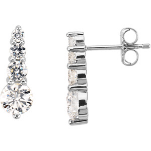 Platinum PAIR 1 CT TW Polished JOURNEY DIAMOND EARRING. Price: $5384.65