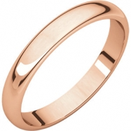 14kt Rose 03.00 mm Half Round Band