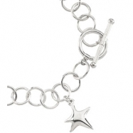 Sterling Silver 07.50 INCH Polished RING CHAIN WITH STAR