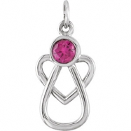 Sterling Silver Pendant Complete with Stone 15.50X09.00 MM ROUND 04.00 MM JULY Polished WITH ME ALWA