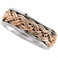 14kt White/Rose 9.5 Hand Woven Band