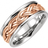 14kt White/Rose 7 Hand Woven Band
