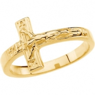 14kt Yellow SIZE 08.00/LADIES Polished CRUCIFIX CHASTITY RING W/BOX