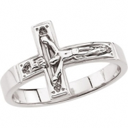 Sterling Silver SIZE 10.00/GENTS Polished CRUCIFIX CHASTITY RING W/BOX