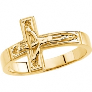 10kt Yellow SIZE 10.00/GENTS Polished CRUCIFIX CHASTITY RING W/BOX