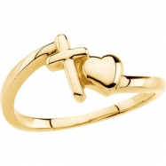14kt Yellow RING Polished CROSS/HEART RING
