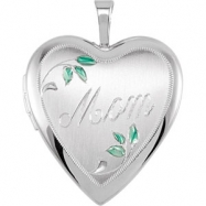 Sterling Silver 21.00X19.25 MM Polished MOM LOCKET WITH COLOR