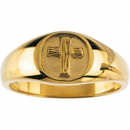 14kt White SIZE 08.00 Polished THE RUGGED CROSS CHASTITY RING