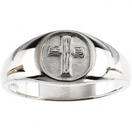 Sterling Silver SIZE 11.00 Polished THE RUGGED CROSS CHASTITY RING