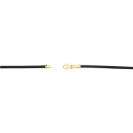 14kt Yellow 24 INCH Polished BLACK LEATHER CHAIN