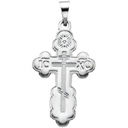 Sterling Silver 19.00 X 13.00 MM Polished ORTHODOX CROSS PENDANT