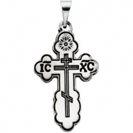 Sterling Silver 19.00X13.00 MM Polished ORTHODOX CROSS PENDANT W/BLACK