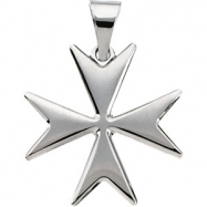 Sterling Silver 18.00 MM Polished MALTESE CROSS PENDANT