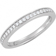 14kt White 1/5 CT TW BAND Polished BRIDAL ENGAGEMENT SEMI SET