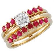 14KY 02.00 MM P BRIDAL RING GUARD GENUINE RUBY