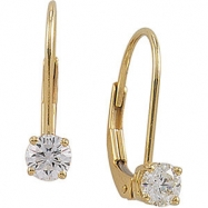 14kt Yellow PAIR 04.00 MM Polished DIAMOND LEVER BACK EARRING