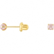 14kt Yellow PAIR 03.00 MM Polished INVERNESS SIM PINK PEARL