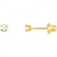 14kt Yellow APRIL 03.00 MM Polished SOLITAIRE BIRTHSTONE EARRING