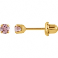 YP JUNE 03.00 MM P SOLITAIRE BIRTHSTONE EARRING