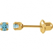 YP MARCH 03.00 MM P SOLITAIRE BIRTHSTONE EARRING