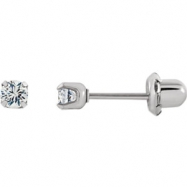Stainless Steel 03.00 MM Polished PALLADIUM PLATED PAIR CZ E/R