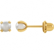 14kt Yellow 04.00 MM Polished SIM PEARL EARRING