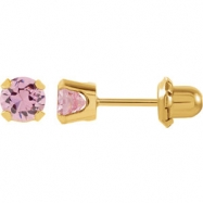 14kt Yellow 05.00 MM Polished INVERNESS PINK CZ EARRING