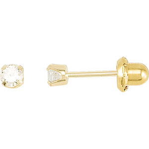 14kt Yellow 03.00 MM Polished INVERNESS CUBIC ZIRCONIA PIERC. Price: $39.50