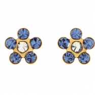 14kt Yellow SEPTEMBER 03.00X03.00 MM Polished FLOWER BIRTHSTONE EARRING