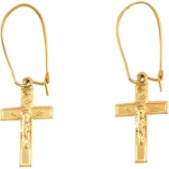 14kt Yellow PAIR 14.00X09.00 MM Polished EARWIRE W/CRUCIFIX